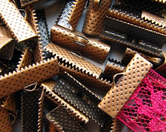144pcs. 20mm or 3/4 inch Antique Copper Ribbon Clamp End Crimps