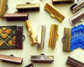 500 pcs. 20mm Ribbon Clamps with Loop -- Silver, Gold, Gunmetal, Antique Bronze, Antique Copper