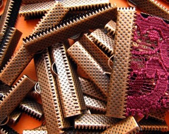 144pcs. 35mm or 1 3/8 inch Antique Copper Ribbon Clamp End Crimps