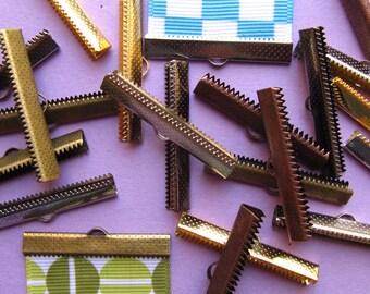 500 pcs. 38mm Ribbon Clamps with Loop -- Silver, Gold, Gunmetal, Antique Bronze, Antique Copper