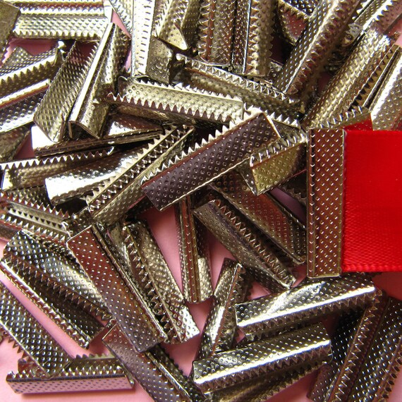 144pcs. 22mm or 7/8 inch Silver Ribbon Clamp End Crimps without Loop