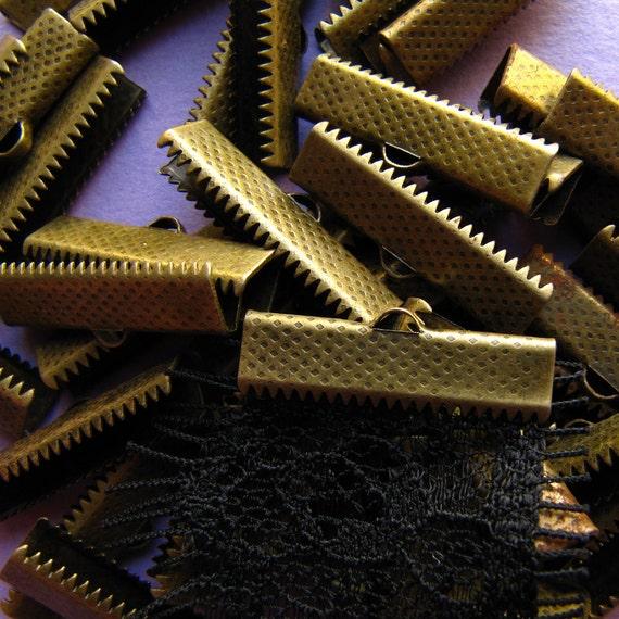 144pcs. 25mm or 1 inch Antique Bronze Ribbon Clamp End Crimps