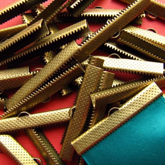 144pcs. 40mm or 1 9/16 inch Antique Bronze Ribbon Clamp End Crimps