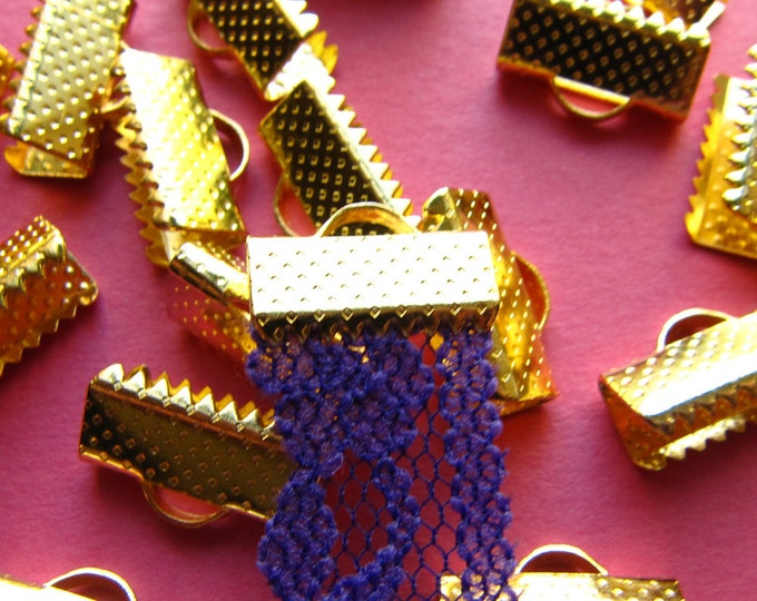 20pcs. 13mm or 1/2 inch Gold Ribbon Clamp End Crimps