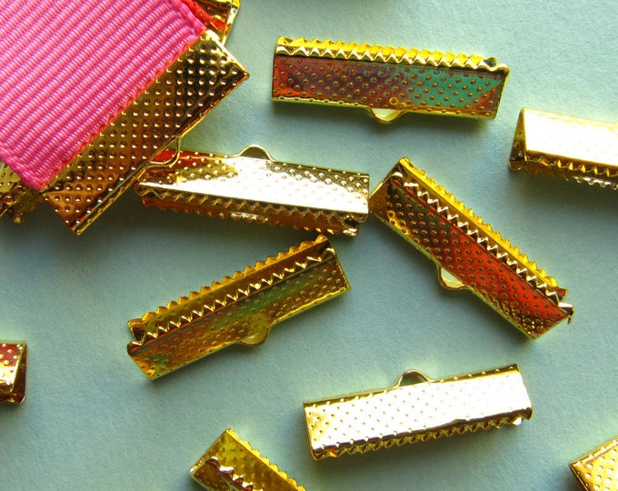 16pcs. 22mm or 7/8 inch Gold Ribbon Clamp End Crimps