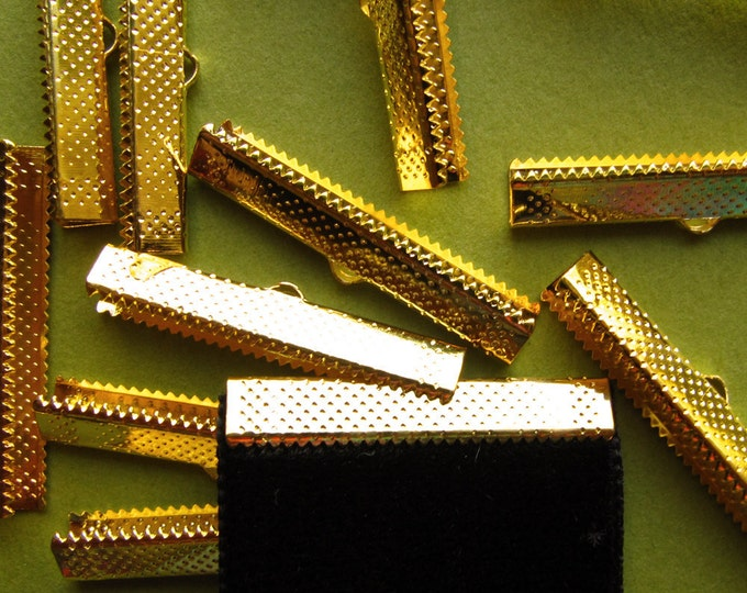 12pcs. 35mm or 1 3/8 inch Gold Ribbon Clamp End Crimps