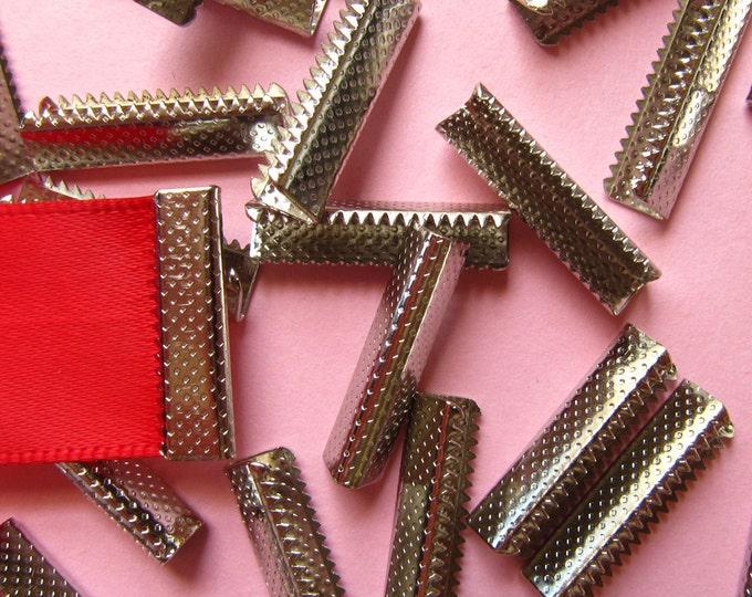 16pcs. 22mm or 7/8 inch Silver No Loop Ribbon Clamp End Crimps