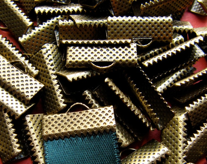 144 pieces 16mm or 5/8 inch Antique Bronze Ribbon Clamp End Crimps