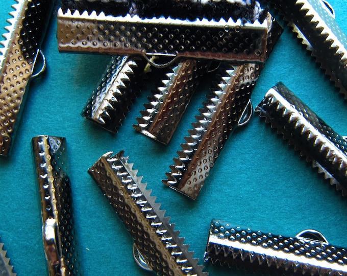12pcs. 30mm or 1 3/16 inch Gunmetal Ribbon Clamp End Crimps