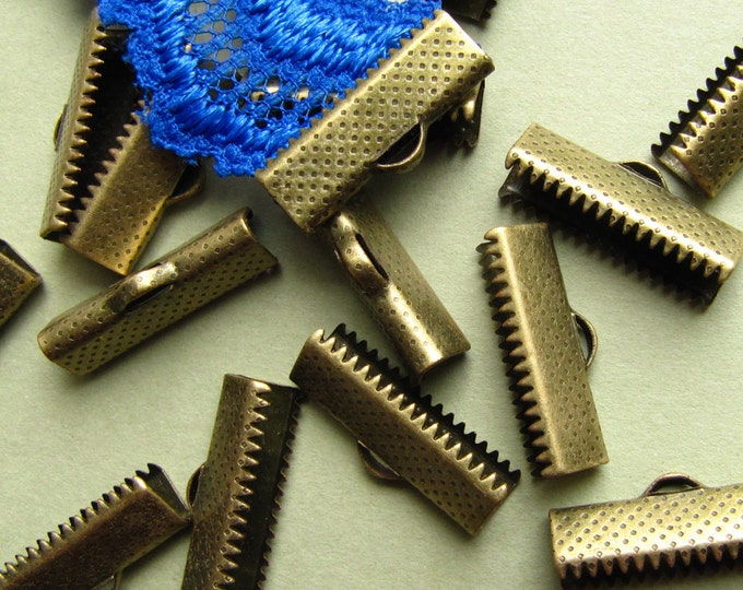 16pcs. 20mm or 3/4 inch Antique Bronze Ribbon Clamp End Crimps