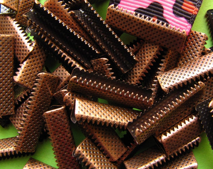 144 pieces 22mm or 7/8 inch Antique Copper Ribbon Clamp End Crimps without Loop