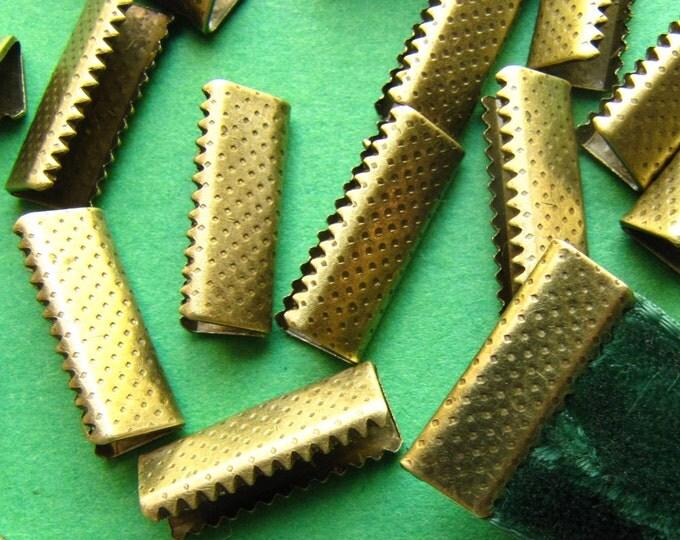 16pcs. 16mm or 5/8 inch Antique Bronze No Loop Ribbon Clamp End Crimps