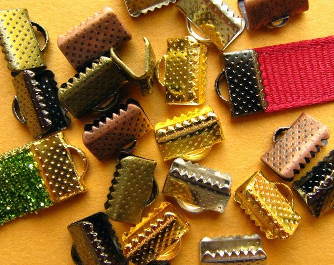 500 pcs. 10mm Ribbon Clamps with Loop -- Silver, Gold, Gunmetal, Antique Bronze, Antique Copper