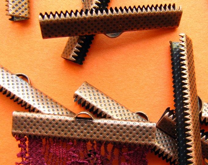 12pcs. 35mm or 1 3/8 inch Antique Copper Ribbon Clamp End Crimps
