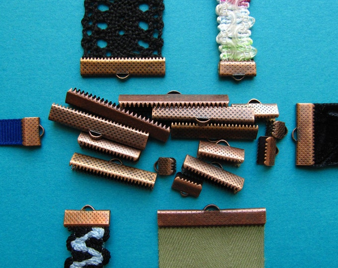 Antique Copper Ribbon Clamps - Ribbon Crimps - Assortment of sizes