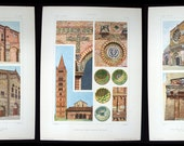 Set of 3 Antique 1925 Italian Architectural Chromolithograph Art Prints