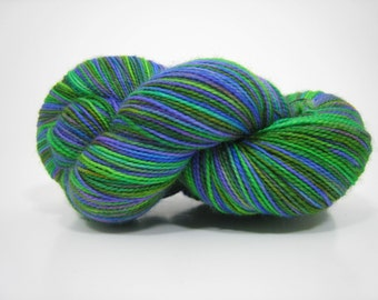 Piper sock yarn, superwash merino 2 ply fingering weight yarn, hand dyed, 450 yards - A Midsummer Night's Dream