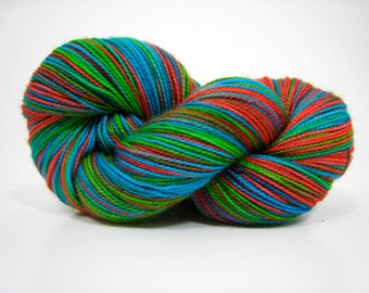 Piper sock yarn, superwash merino 2 ply fingering weight yarn, hand dyed, 450 yards - Poppy