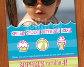 Splish Splash Birthday Bash - DIY Girl's Photo Invitation for Pool or Beach Party
