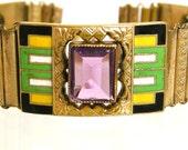 German Art Deco Enamel and Purple Glass Bracelet