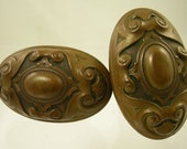 Victorian Oval Brass Repousse Door Knobs