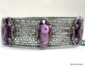 Transitional Art Deco Filigree Bracelet with Purple Glass