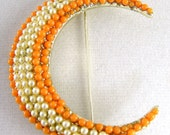 Orange and White Seeded Crescent Moon Brooch