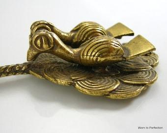 Brass Double Bird Talisman Brooch