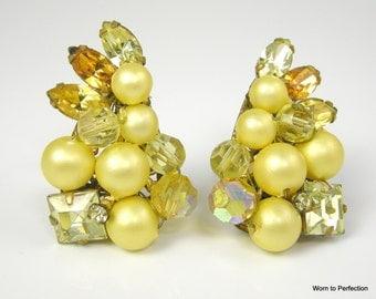 1950s vintage Rhinestone and Pearl Earrings EUGENE