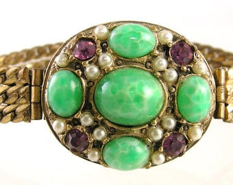Victorian Revival Suffragrette Colors Green Purple White Cabochon Bracelet
