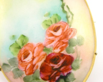 Victorian Brooch Hand Painted Roses