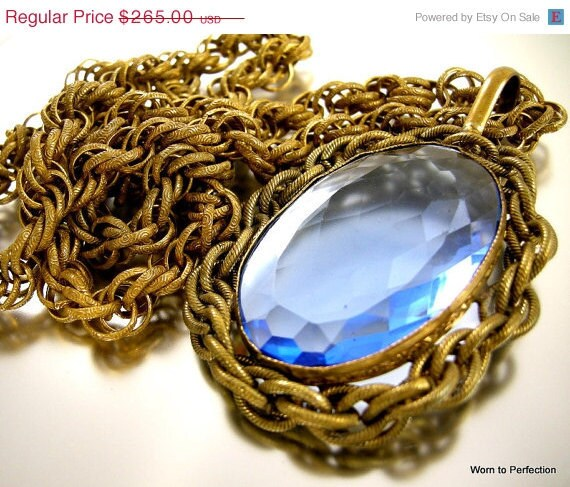 ON SALE Miriam Haskell Blue Glass Pendant Necklace on Rope Chain