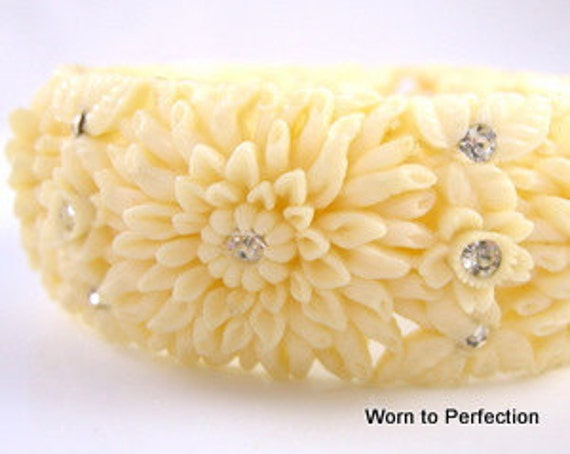 Vintage Celluloid Clamper Bracelet Carved Flowers with Rhinestones