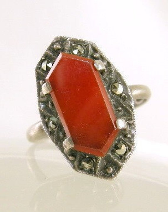 1920s Art Deco Ring German Sterling Silver and Carnelian