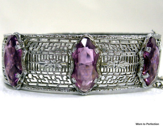 Transitional Art Deco Filigree Bracelet with Purple Glass
