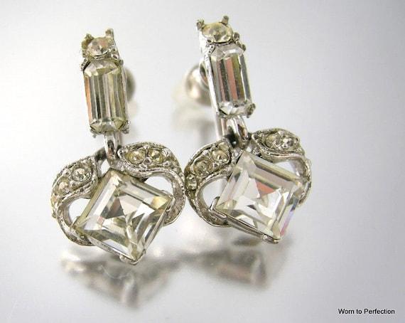 Vintage Rhinestone Earrings Signed Bogoff