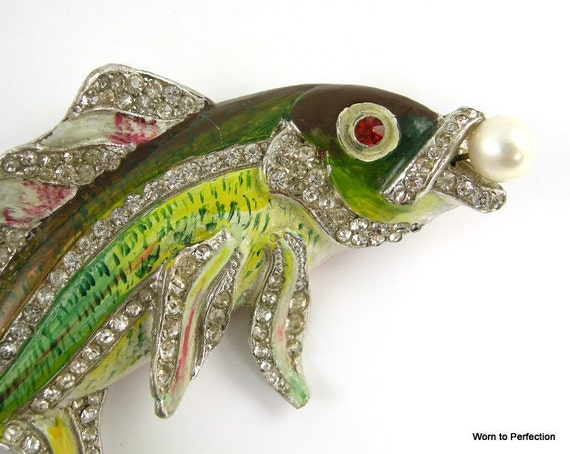 Rare Staret Brooch Enameled Pot Metal Fish