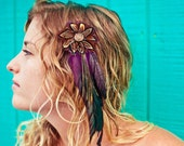 Purple Feather and Button Hair Clip / Jónsi Tribal