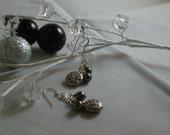 Hematite and Silver Drop Earrings Handmade