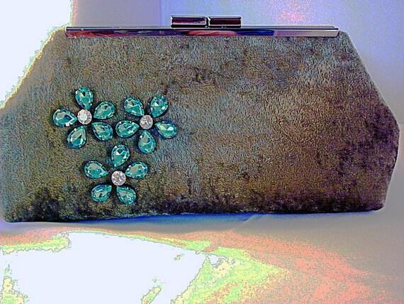 Green Crushed Velvet Handmade Clutch Bag