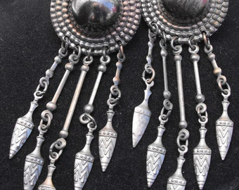 Vintage Silver Dome and Feather Design Earrings