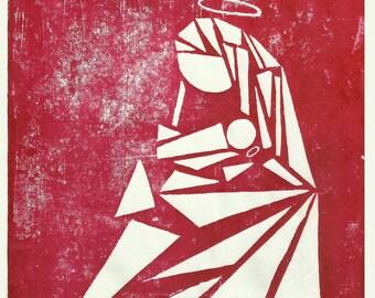 Madonna & Child, Mono FIne Art Print Red on White Vintage Spiritual Jesus Mary Love Unframed Home Decor Christmas theme Beautiful Ltd Ed God