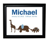 Giraffe, Elephant and Turtle print with child's name and birth information - 8x10 Print, pink/chocolate and blue/chocolate colors