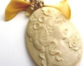 Vintage Cameo with Silk Bow and Gems Necklace