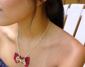 Vintage Bow Tie Necklace with Rhinestones and Silk
