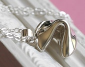 Sterling Silver Fortune Cookie Necklace - Locket Style, Holds a Personalized Message