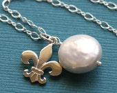 Fleur-de-Lis and Coin Pearl, Sterling Silver Necklace