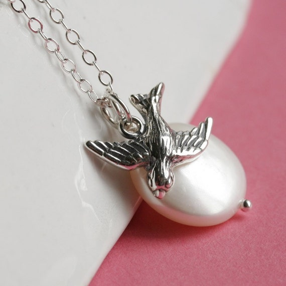 Sparrow and Coin Pearl, Sterling Silver Necklace