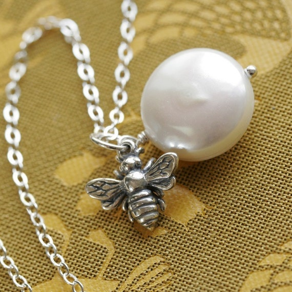 Honeybee and Freshwater Coin Pearl, Sterling Silver Necklace