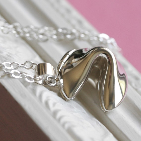 Sterling Silver Fortune Cookie Necklace Locket Style